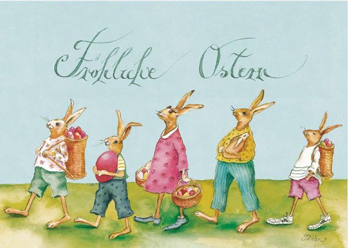 Grätz Verlag - Postkarte - Ostern - mit Hasenfamilie