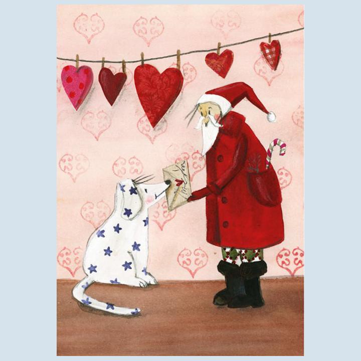 Grätz Verlag - Postkarte - Weihnachtskarte, Weihnachtsmann mit Hund