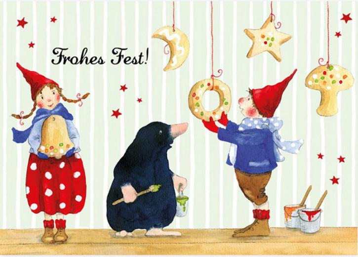 Grätz Verlag - Weihnachtspostkarte - Pippa und Pelle mit Maulwurf