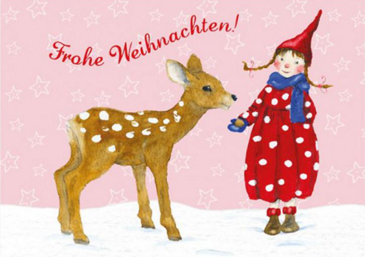 Grätz Verlag - Postkarte - Weihnachtskarte, Pippa mit Reh