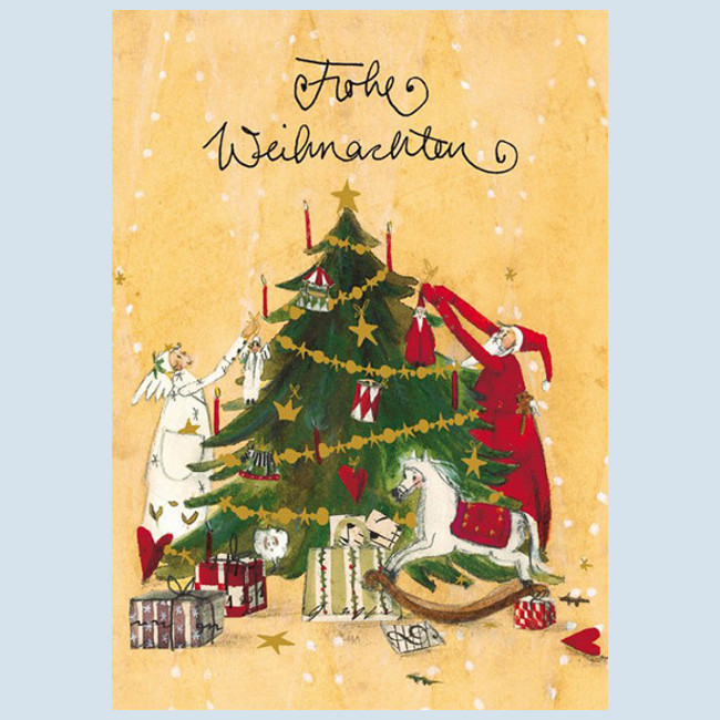 Grätz Verlag - Postkarte - Weihnachtskarte, Baum schmücken