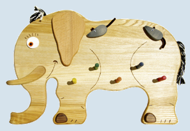 lammetal kindergarderobe aus holz elefant benni maman et bebe. Black Bedroom Furniture Sets. Home Design Ideas