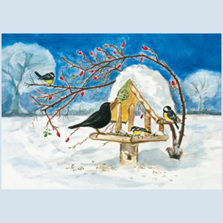 Kunstpostkarte - Vogelhäuschen