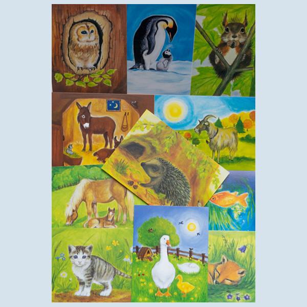 Postkarten Set - Tier-Kunstpostkarten