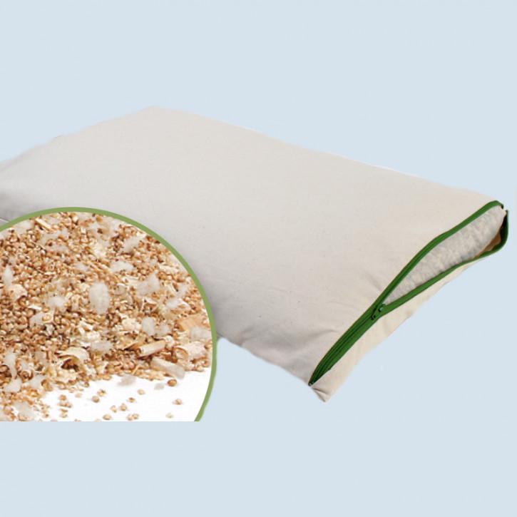 mudis Hirsekissen mit Wolle und Zirbe - Baumwolle, Bio Qualität, 40 x 80