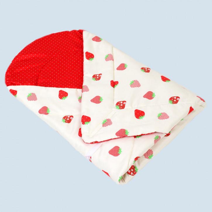 mudis Baby Puckdecke, Einschlagdecke - Erdbeere - Baumwolle, Bio