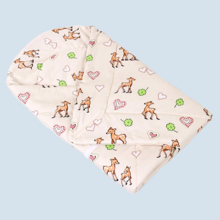 mudis Baby Puckdecke, Einschlagdecke - Reh - Baumwolle, Bio