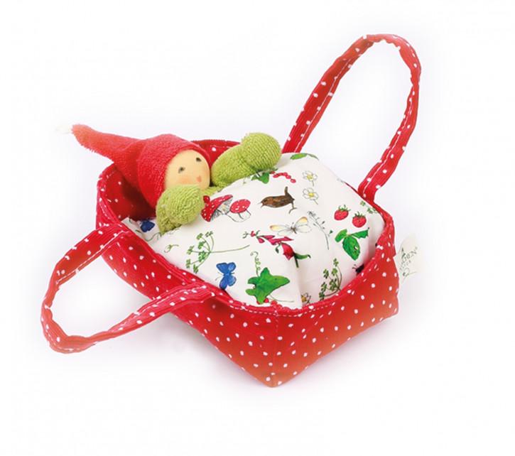 Nanchen Puppe - Blütenbett mit Wichtel - rot, Bio Baumwolle, öko