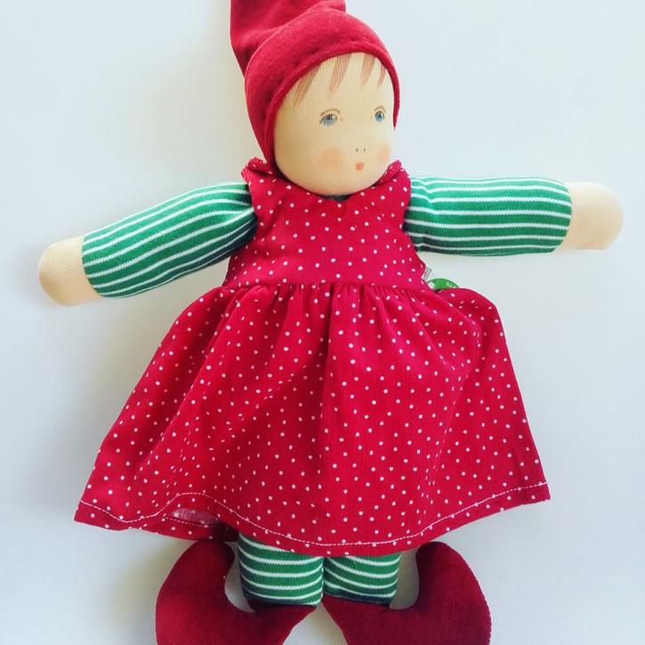 Nanchen Puppe - Weihnachtswichtel Paula - Bio Baumwolle