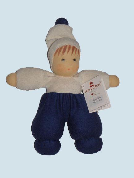 Nanchen Puppe - Mops - blau, Bio Baumwolle, öko