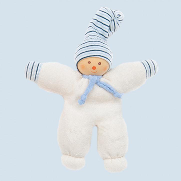 Nanchen Puppe - Schneemann - blau, Bio Baumwolle, öko