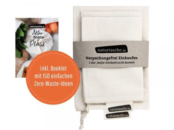 Naturtasche - 3er-Set - Baumwolle Bio Qualität, mit Booklet