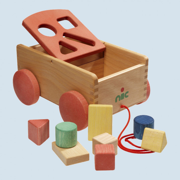 nic - carriage with wooden bricks for children - eco