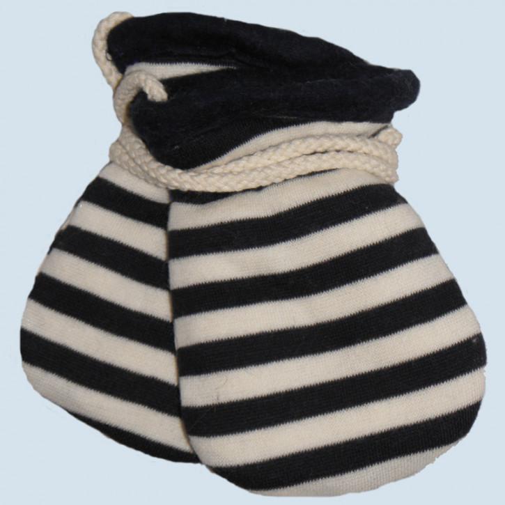plü natur - Baby Handschuhe - Baumwolle, Bio Qualität, blau gestreift