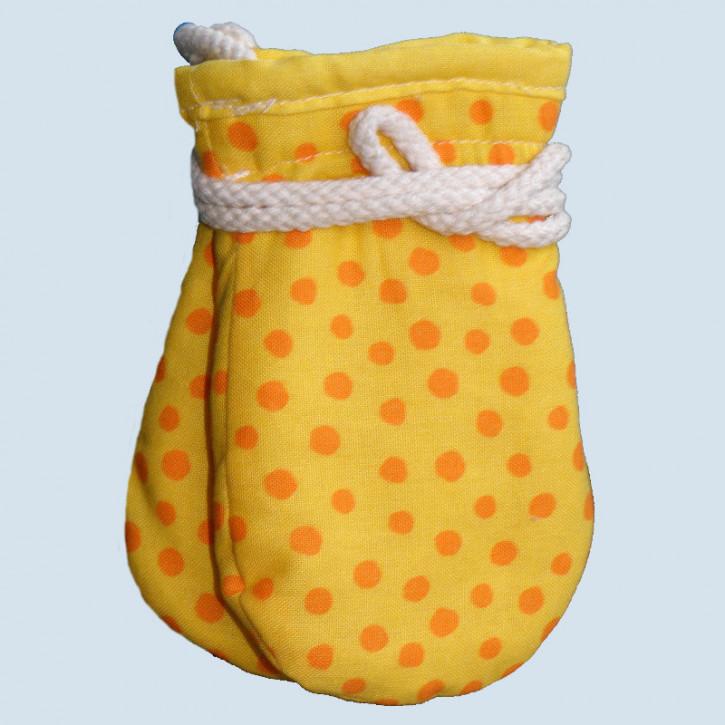 plü natur - Baby Handschuhe - Baumwolle, Bio Qualität , gelb-orange