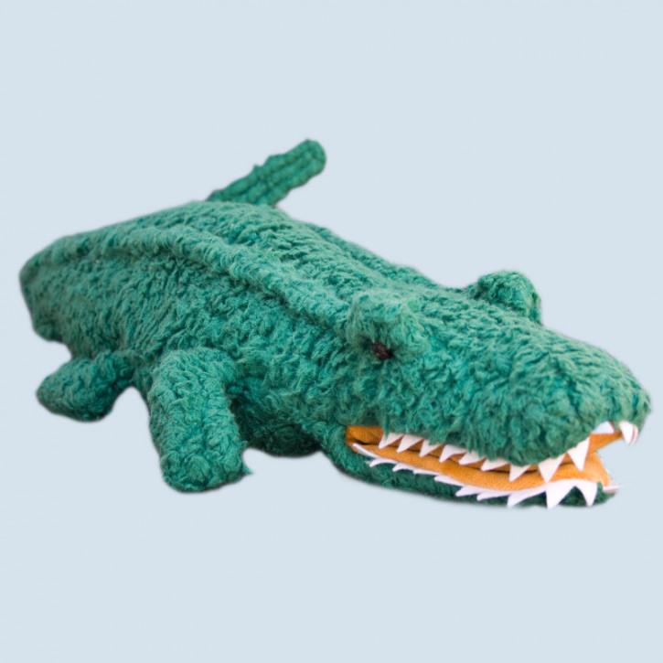 plü natur Handpuppe XXL / Kuscheltier - Krokodil - Bio Baumwolle
