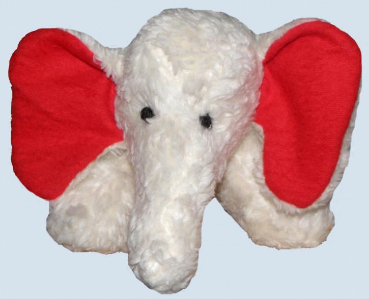 plü natur Stofftier - Elefant - weiss, rote Ohren, Bio Baumwolle
