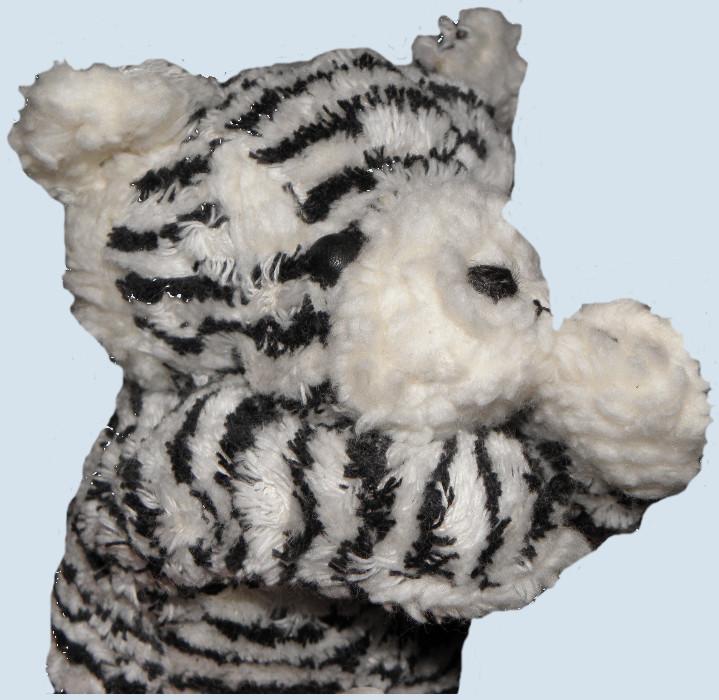plü natur Stofftier - Tiger - schwarz, weiß, Bio Baumwolle