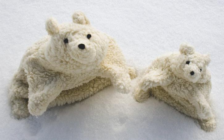 plue natur hand puppet - polar bear - small, eco