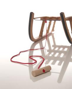 Sirch - Ziehseil rot mit Holzknauf - für Rodelschlitten