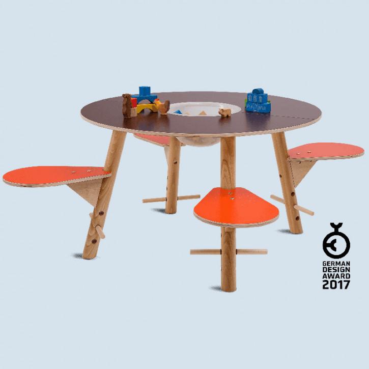 Timkid - Spieltisch tavi für Kinder aus Holz - Tischplatte braun