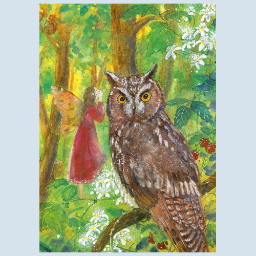 postcard - elf and owl - Waldow publisher