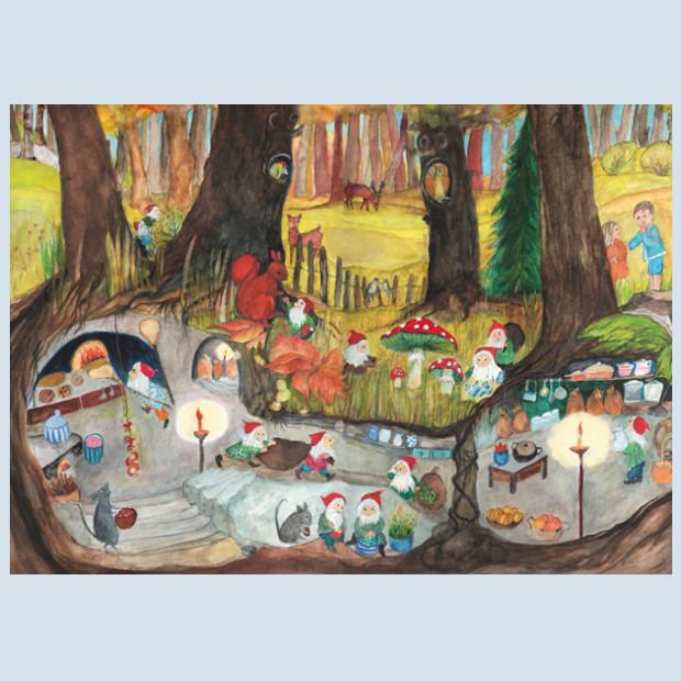 postcard - dwarf kitchen - Waldow publisher