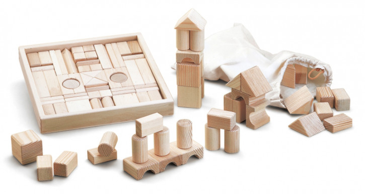 Wendelstein - wooden building bricks, blocks in a box - natural, with cover