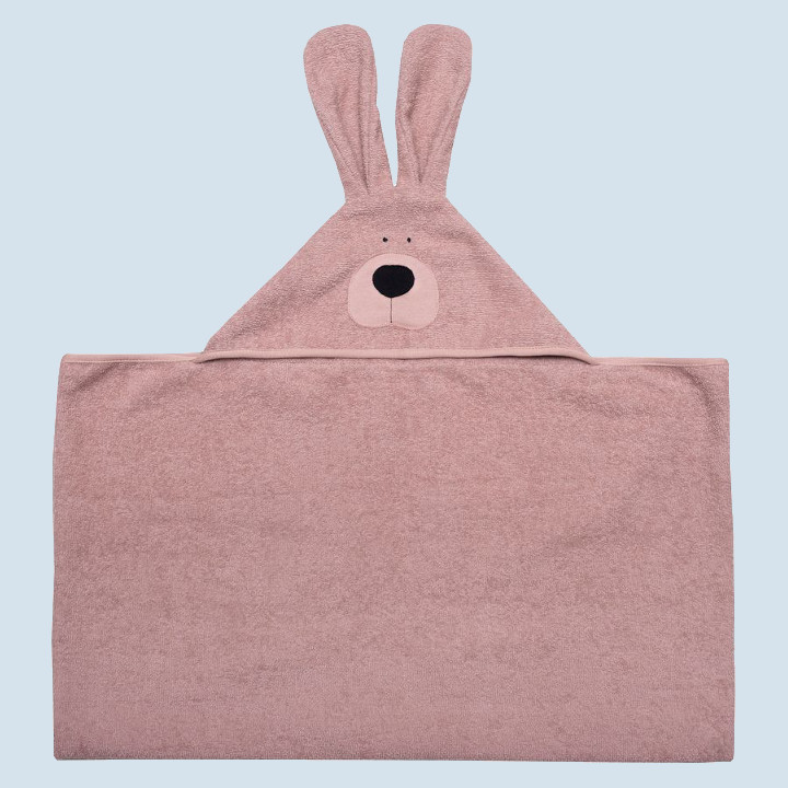 wooly organic - Kinder Bio Badetuch Hase mit Kapuze - rosa
