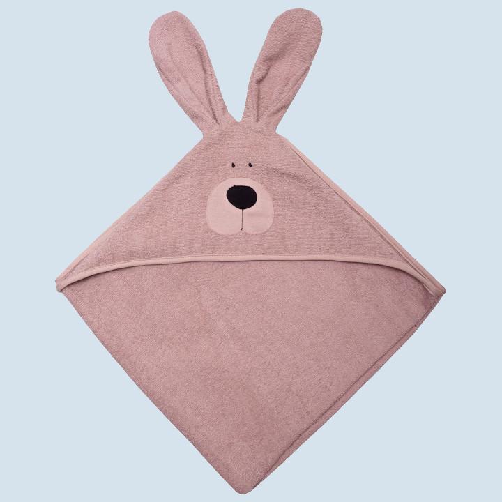 wooly organic - Baby Bio Badetuch Hase mit Kapuze - rosa