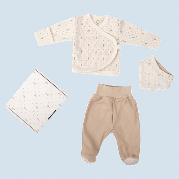 wooly organic gift set - jacket, pants and a bib - cotton, eco
