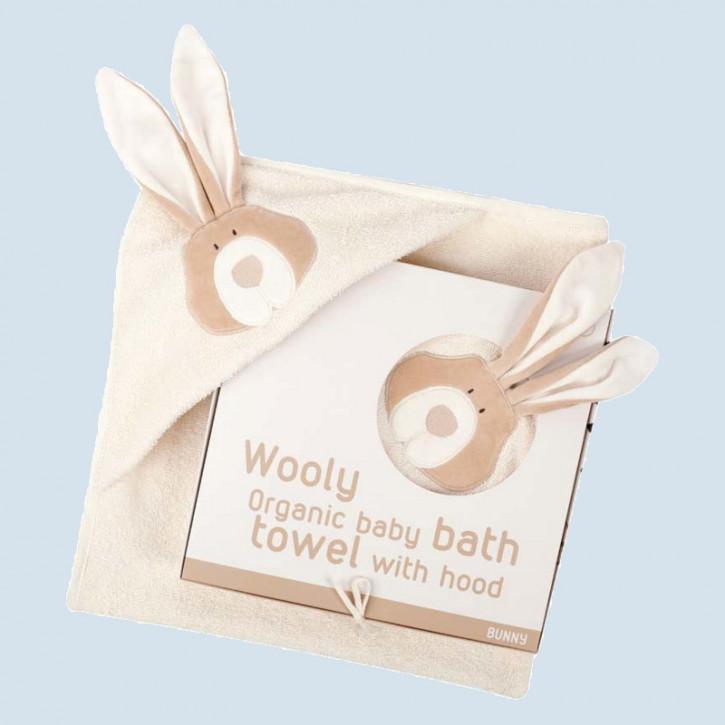 wooly organic - Baby Badetuch Hase - Kapuze, Baumwolle Bio Qualität