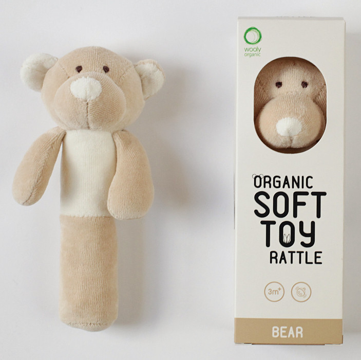 wooly organic - Bär, Teddy mit Rassel - Bio Baumwolle, vegan