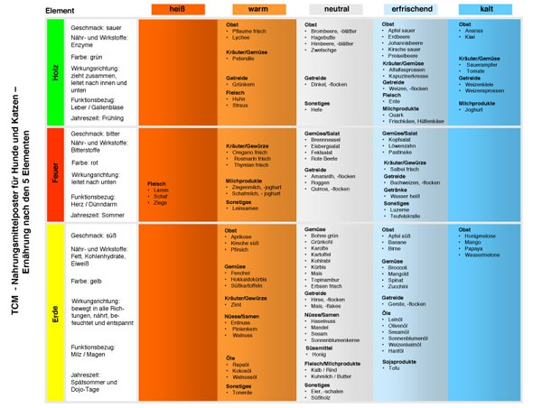 tcm 5 elemente ernährung für hunde lehrtafel