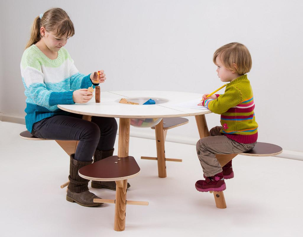 timkid spieltisch tavi f r kinder aus holz tischplatte weiss. Black Bedroom Furniture Sets. Home Design Ideas