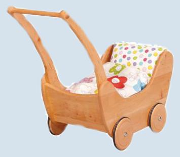 gl cksk fer puppenwagen aus holz mit bettzeug erle. Black Bedroom Furniture Sets. Home Design Ideas