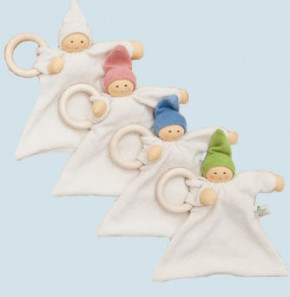 Nanchen organic soft toy - comforter Nuckel - white, wooden ring