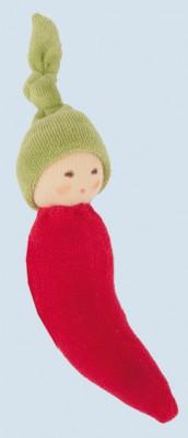 Nanchen Puppe - Greifling Chili - rot, Bio Baumwolle, öko